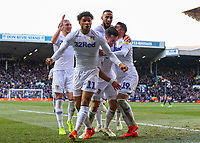 Leeds United's Jack Harrison celebrates scoring the opening goal with Pablo Hernandez, Luke Ayling, Tyler Roberts and Kemar Roofe<br /> <br /> Photographer Alex Dodd/CameraSport<br /> <br /> The EFL Sky Bet Championship - Leeds United v Sheffield Wednesday - Saturday 13th April 2019 - Elland Road - Leeds<br /> <br /> World Copyright © 2019 CameraSport. All rights reserved. 43 Linden Ave. Countesthorpe. Leicester. England. LE8 5PG - Tel: +44 (0) 116 277 4147 - admin@camerasport.com - www.camerasport.com