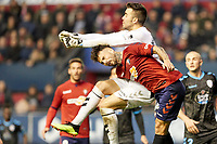 Ruben García (midfield; CA Osasuna) and Juan Carlos (goalkeeper; CD Lugo) during the Spanish football of La Liga 123, match between CA Osasuna and CD Lugo at the Sadar stadium, in Pamplona (Navarra), Spain, on Sanday, December 2, 2018.