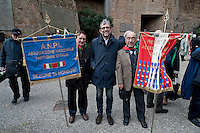 Commemoration for the 72th anniversary of the massacre  Fosse Ardeatine, made in Rome by the occupation troops of Nazi Germany, the  March 24, 1944, were killed, 335 civilians and Italian soldiers. Pictured: The candidate for mayor of Rome Roberto Giachetti (C) (Democratic Party).       Rome Italy. March 23, 2016.