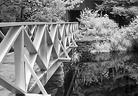 Bridge at the dam of Sandburg Pond. Shot with Infrared camera highlight the reflection and foliage.