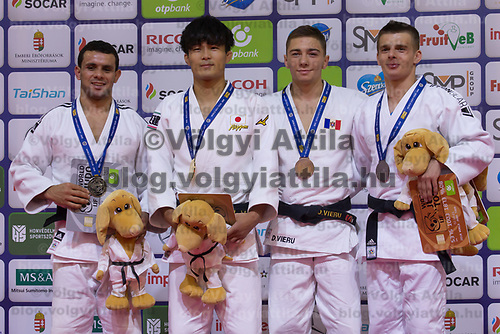 Gold medalist Kenzo Tagawa (2nd L) of Japan, silver medalist Mohamed Abdelmawgoud (L) of Egypt with bronze medalists Bogdan Iadov of Ukraine and Denis Vieru of Moldova celebrate their victory during an awards ceremony after the Men -66 kg category at the Judo Grand Prix Budapest 2018 international judo tournament held in Budapest, Hungary on Aug. 10, 2018. ATTILA VOLGYI