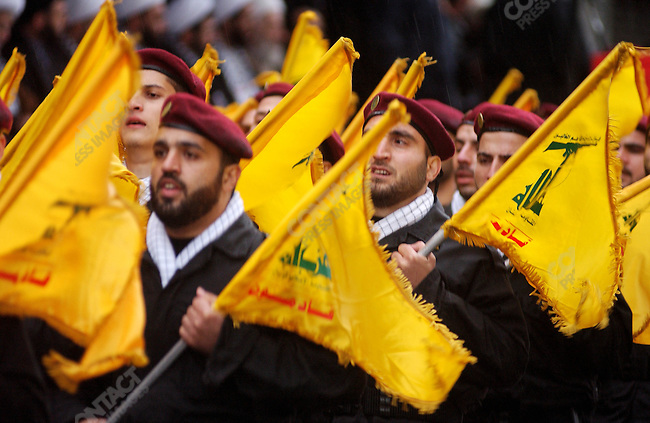 For the attention of foreign pix-For story by Neil MacFarquhar-Hezbollah soldiers marched in celebration of Jerusalem day in the town of Nabatieh in south Lebanon.  The day was introduced to the Islamic world by Ayatollah Khomeini in 1979 after the revolution in Iran.<br />