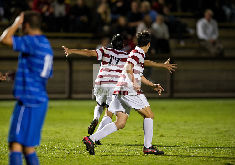 STANFORD, CA - September 12, 2012: Stanford midfielder Austin Meyer (17) celebrates his game winning goal during the during the Stanford vs San Jose St. men's soccer match in Stanford, California. Final score, Stanford 2, San Jose St. 1 in overtime.
