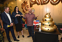 "LOS ANGELES - MAY 21: Howard Kurtzman, 20th Century Fox TV/President, Business Operations, Kara Vallow, Producer, and Matt Weitzman, EP/Co-Creator/Showrunner attend the 300th episode table ready and cake cutting celebration for 20th Century Fox Television's ""American Dad"" on May 21, 2019 in Los Angeles, California. (Photo by Frank Micelotta/20th Century Fox Television/PictureGroup)"