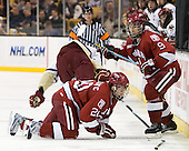 Louis Leblanc (Harvard - 20), Danny Biega (Harvard - 9) - The Boston College Eagles defeated the Harvard University Crimson 6-0 on Monday, February 1, 2010, in the first round of the 2010 Beanpot at the TD Garden in Boston, Massachusetts.