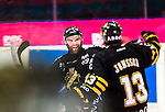 Stockholm 2015-01-04 Ishockey Hockeyallsvenskan AIK - Vita H&auml;sten :  <br /> AIK:s Christian Sandberg firar sitt avg&ouml;rande m&aring;l i straffl&auml;ggningen med Marcus Jonsson under matchen mellan AIK och Vita H&auml;sten <br /> (Foto: Kenta J&ouml;nsson) Nyckelord:  AIK Gnaget Hockeyallsvenskan Allsvenskan Hovet Johanneshov Isstadion Vita H&auml;sten jubel gl&auml;dje lycka glad happy