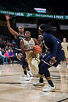 Kortni Simmons (15) of the Wake Forest Demon Deacons drives to the basket during second half action against the Notre Dame Fighting Irish at the LJVM Coliseum on December 31, 2017 in Winston-Salem, North Carolina.  The Fighting Irish defeated the Demon Deacons 96-73.  (Brian Westerholt/Sports On Film)