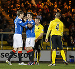 Marius Zaliukas celebrates with Darren McGregor after he rescues a point for Rangers
