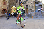 Bardiani CSF team riders make their way to sign on before the start of the 2015 Strade Bianche Eroica Pro cycle race 200km over the white gravel roads from San Gimignano to Siena, Tuscany, Italy. 7th March 2015<br /> Photo: Eoin Clarke www.newsfile.ie