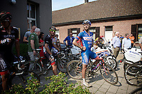(later winner) Robin Stenuit (BEL-Wanty-Groupe Gobert) waits for the race to be cancelled/continued at the 2nd neutralisation.<br /> <br /> 90th Schaal Sels 2015