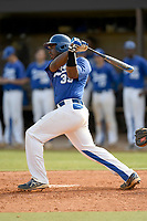 Catcher Cole Jackson (35) of the Spartanburg Methodist College Pioneers bats in Game 2 of a junior college doubleheader against Southeastern Community College on Wednesday, March 28, 2018, at Mooneyham Field in Spartanburg, South Carolina. (Tom Priddy/Four Seam Images)