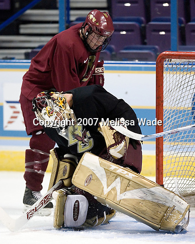 Ben Smith (Boston College - Avon, CT) and Joe Pearce (Boston College - Brick, NJ) take part in the Eagles' Wednesday practice on April 4, 2007 at the Scottrade Center in St. Louis, Missouri, prior to their Thursday 2007 Frozen Four Semi-Final.