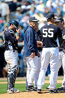 New York Yankees manager Joe Girardi #28 makes a pitching change during a Spring Training game against the Pittsburgh Pirates at Legends Field on March 28, 2013 in Tampa, Florida.  (Mike Janes/Four Seam Images)