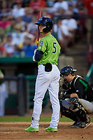 Kane County Cougars Blaze Alexander (5) at bat during a Midwest League game against the Dayton Dragons on July 20, 2019 at Northwestern Medicine Field in Geneva, Illinois.  Dayton defeated Kane County 1-0.  (Mike Janes/Four Seam Images)