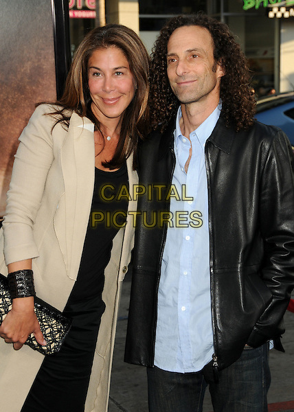 "LYNDIE BENSON & KENNY G (Kenneth Gorelick).""Splice"" Los Angeles Premiere held at Grauman's Chinese Theatre, Hollywood, California, USA..June 2nd, 2010.half length married husband wife beige jacket dress clutch bag blue black leather.CAP/ADM/BP.©Byron Purvis/AdMedia/Capital Pictures."
