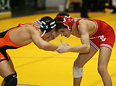 Jared Messina and Devon Brown wrestle at the 125 weight class during the NY State Wrestling Championships at Blue Cross Arena on March 8, 2008 in Rochester, New York.  (Copyright Mike Janes Photography)