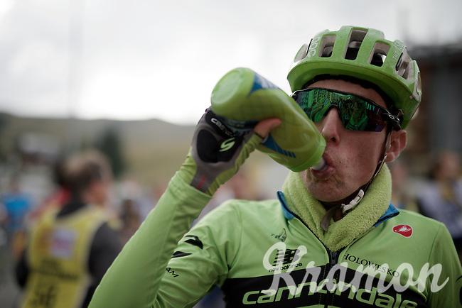 Daniel Martin (IRL/Cannondale-Garmin) post-race, ready to roll down the mountain again<br /> <br /> stage 19: St-Jean-de-Maurienne - La Toussuire / Les Sybelles   (138km)<br /> Tour de France 2015