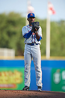 St. Lucie Mets starting pitcher Justin Dunn (19) gets ready to deliver a warmup pitch during a game against the Dunedin Blue Jays on April 20, 2017 at Florida Auto Exchange Stadium in Dunedin, Florida.  Dunedin defeated St. Lucie 6-4.  (Mike Janes/Four Seam Images)