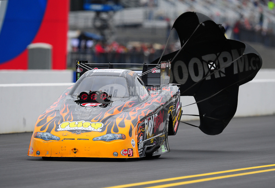 Sept. 17, 2011; Concord, NC, USA: NHRA funny car driver Bob Gilbertson during qualifying for the O'Reilly Auto Parts Nationals at zMax Dragway. Mandatory Credit: Mark J. Rebilas-