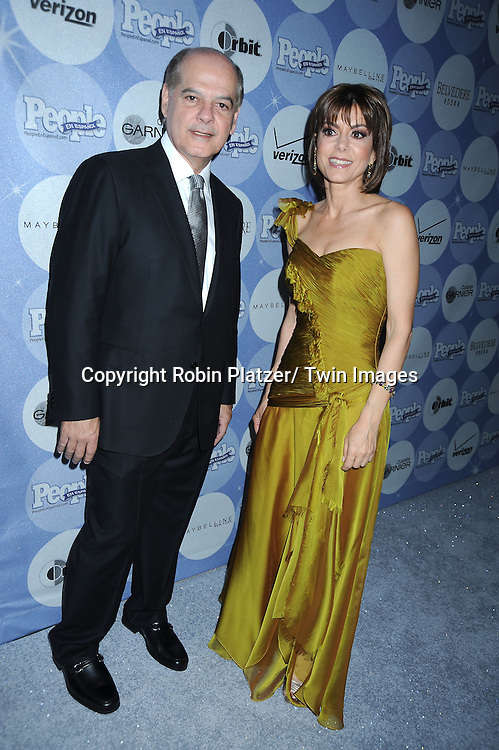 "Cesar Alvarez and Cristina Pereya posing for photographers at the 14th Annual People En Espanol's ""50 Most Beautiful"" issue on May 20, 2010 at .Guastavino's in New York City."