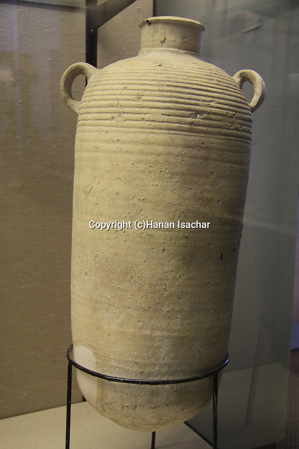 A clay storage jar, 1st century BC-1st century AD, found at the Temple Mount excavations, Jerusalem, on display at the Hecht Museum, the University of Haifa