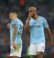 Manchester City's Vincent Kompany and Nicolas Otamendi<br /> <br /> Photographer Rob Newell/CameraSport<br /> <br /> The Carabao Cup Final - Chelsea v Manchester City - Sunday 24th February 2019 - Wembley Stadium - London<br />  <br /> World Copyright © 2018 CameraSport. All rights reserved. 43 Linden Ave. Countesthorpe. Leicester. England. LE8 5PG - Tel: +44 (0) 116 277 4147 - admin@camerasport.com - www.camerasport.com
