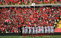 BOGOTÁ - COLOMBIA, 12-01-2019:Formación del América de Cali ante el Independiente Santa Fe   durante primer  partido del Torneo Fox Sport 2019 jugado en el estadio Nemesio Camacho El Campín de la ciudad de Bogotá. / Team of America of Cali agaisnt of Independiente Santa Fe   during the  first match of the Fox Sport 2019 Tournament played at the Nemesio Camacho El Campin Stadium in Bogota city. Photo: VizzorImage / Felipe Caicedo / Staff.