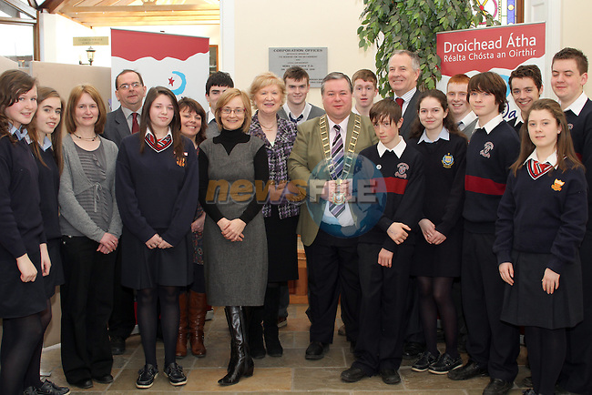 Sacred Heart Students, Sarah Owens and Caoimhe Cronin and their Deputy Principal Geraldine Coyle, St Josephs Students, Ronan Fitzpatrick, Ryan Callan, Nathan McGinn and Rory Brodigan, St.Marys Students, Dylan McKeown, David Hammond, David Phelan and Brandon Walsh with Theresa Murphy, Louise Feehan, Pat Finn and Jeanne Rushe from Drogheda Borough Council, CLLR. Oliver Tully and Mayor Paul Bell at the Launch of the Schools Litter Prevention Programme at Drogheda Borough Council...(Photo credit should read Jenny Matthews/www.newsfile.ie)....This Picture has been sent you under the conditions enclosed by:.Newsfile Ltd..The Studio,.Millmount Abbey,.Drogheda,.Co Meath..Ireland..Tel: +353(0)41-9871240.Fax: +353(0)41-9871260.GSM: +353(0)86-2500958.email: pictures@newsfile.ie.www.newsfile.ie.