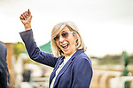 MAY 18: Carla Gaines, trainer of Bolo Celebrates a win in the Shoemaker Mile at Santa Anita Park in Arcadia, California on May 27, 2019. Evers/Eclipse Sportswire/CSM