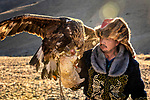 Mongolian eagle hunters sit astride their horses with the impressive birds of prey perched on their forearms.  It takes five years for the unusual bond between the men and birds to form and the nomads even sing to calm them when they are first captured.<br /> <br /> The hunters do not keep their eagle forever. After years of service, the golden eagles, which live for around 40 years, are released into the wild.  The striking images were captured in Bayan-Ölgii located in the Altai Mountains of Western Mongolia.  SEE OUR COPY FOR DETAILS.<br /> <br /> Please byline: Zay Yar Lin/Solent News<br /> <br /> © Zay Yar Lin/Solent News & Photo Agency<br /> UK +44 (0) 2380 458800