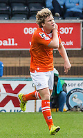 Cameron McGeehan of Luton Town celebrates his goal  during the Sky Bet League 2 match between Wycombe Wanderers and Luton Town at Adams Park, High Wycombe, England on 6 February 2016. Photo by Massimo Martino.