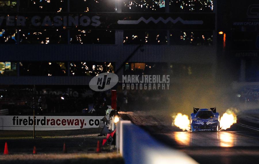 Feb. 21, 2010; Chandler, AZ, USA; NHRA funny car driver Jack Beckman during the Arizona Nationals at Firebird International Raceway. Mandatory Credit: Mark J. Rebilas-