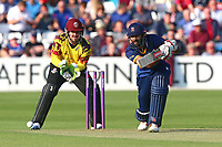 Varun Chopra in batting action for Essex and Steven Davies looks on from behind the stumps during Essex Eagles vs Somerset, NatWest T20 Blast Cricket at The Cloudfm County Ground on 13th July 2017