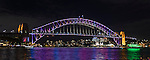Sydney Harbour Bridge during Vivid Light Festival in Sydney, NSW, Australia