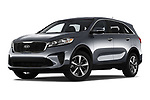 Stock pictures of low aggressive front three quarter view of 2020 KIA Sorento S-V6 5 Door SUV Low Aggressive