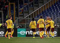 Calcio, Europa League: Lazio vs Sparta Praga. Roma, stadio Olimpico, 17 marzo 2016.<br /> Sparta Praha's Ladislav Krejci, second from right, celebrates with teammates after scoring during the round of 16 second leg soccer match between Lazio and Sparta Praha, at Rome's Olympic Stadium, 17 March 2016.<br /> UPDATE IMAGES PRESS/Isabella Bonotto