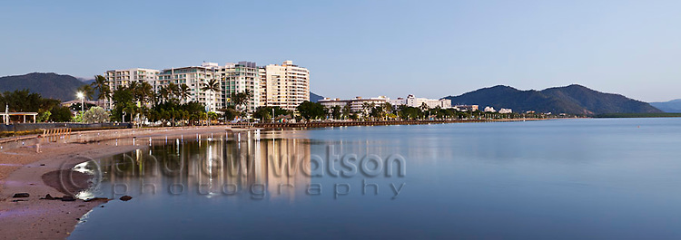 The Esplanade and city skyline.  Cairns, Queensland, Australia
