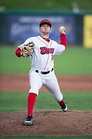 Orem Owlz relief pitcher Christian Aragon (19) delivers a pitch during a Pioneer League game against the Ogden Raptors at Home of the OWLZ on August 24, 2018 in Orem, Utah. The Ogden Raptors defeated the Orem Owlz by a score of 13-5. (Zachary Lucy/Four Seam Images)