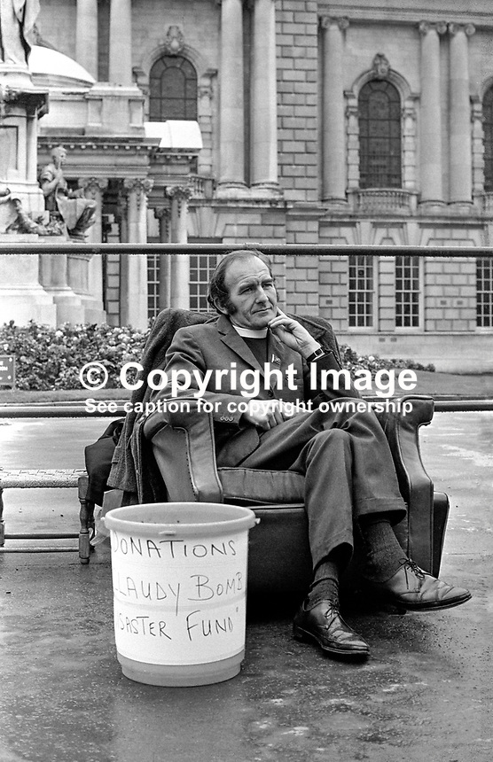Rev Joseph Parker, a Church of Ireland clergyman, taking part in a fast to raise funds for the Claudy Massacre victims at Belfast City Hall, N Ireland, The Claudy bombings, in which nine died, occurred on the 31st July 1972. Rev Parker lost his own son, Stephen Parker, 14 years, in a car bomb blast at a row of shops on the Cavehill Road. Stephen was awarded the Queen's Commendation for bravery for his efforts in warning people about the device. 197209210576JP2..Copyright Image from Victor Patterson, 54 Dorchester Park, Belfast, UK, BT9 6RJ..Tel: +44 28 9066 1296.Mob: +44 7802 353836.Voicemail +44 20 8816 7153.Skype: victorpattersonbelfast.Email: victorpatterson@me.com.Email: victorpatterson@ireland.com (back-up)..IMPORTANT: If you wish to use this image or any other of my images please go to www.victorpatterson.com and click on the Terms & Conditions. Then contact me by email or phone with the reference number(s) of the image(s) concerned.