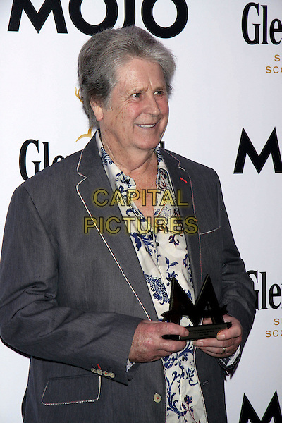 Brian Wilson.The Glenfiddich MOJO Honours List award ceremony, the Brewery, Chiswell St., London, England..July 21st, 2011.half length grey gray suit jacket white shirt print award trophy winner blue.CAP/COA/CC.©CC/COA/Capital .