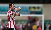 Lincoln City's Neal Eardley acknowledges the crowd at the end of the game<br /> <br /> Photographer Chris Vaughan/CameraSport<br /> <br /> The EFL Sky Bet League Two Play Off First Leg - Lincoln City v Exeter City - Saturday 12th May 2018 - Sincil Bank - Lincoln<br /> <br /> World Copyright &copy; 2018 CameraSport. All rights reserved. 43 Linden Ave. Countesthorpe. Leicester. England. LE8 5PG - Tel: +44 (0) 116 277 4147 - admin@camerasport.com - www.camerasport.com