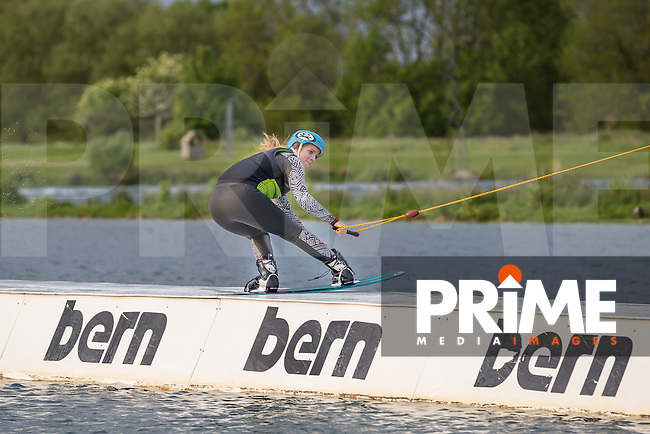 Izzy Goode, current Girls National Wakeboarding Champion, in action practicing at Box End Park, Kempston, Bedford, England on 20 May 2016.  Photo by David Horn / PRiME Media Images