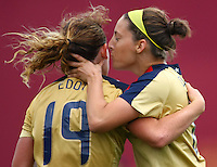 Goal scorer Vicki Dimartino kisses team mate Elizabeth Eddy..FIFA U17 Women's World Cup, Paraguay v USA, Waikato Stadium, Hamilton, New Zealand, Sunday 2 November 2008. Photo: Renee McKay/PHOTOSPORT