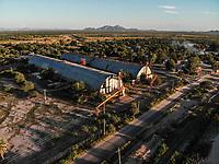 Aerial view of wineries and mills in the ejido La Victoria.train tracks, railroad. vias de tren, ferrocarril. <br /> <br /> <br /> Vista a&eacute;rea de bodegas y molinos en el ejido la Victoria. <br />  (Foto: Luis Gutierrez / NortePhoto.com)