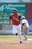 Pedro Castellanos (28) of the San Bernardos de Salem hustles towards third base against the Winston-Salem Dash at Haley Toyota Field on June 30, 2019 in Salem, Virginia. The Dash defeated the San Bernardos 3-2. (Brian Westerholt/Four Seam Images)
