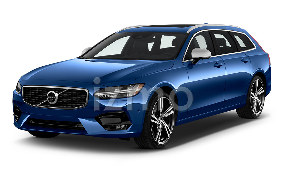 2018 Volvo V90 R-Design AWD T6  5 Door Wagon angular front stock photos of front three quarter view