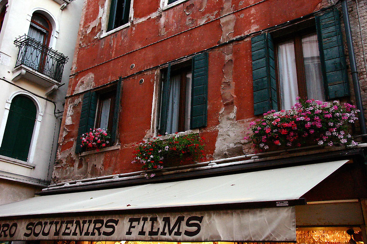 Windows above a Venice souvenir shop