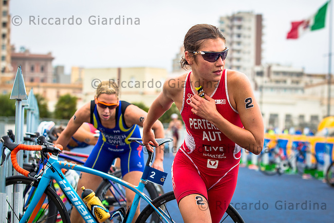 08/05/2016 - Lisa Perterer (AUT) running out of transition zone during Elite Women race, 2016 Cagliari ITU Triathlon World Cup
