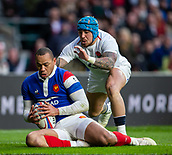10th February 2019, Twickenham Stadium, London, England; Guinness Six Nations Rugby, England versus France; Gael Fickou of France catches the ball under pressure from Jack Nowell of England
