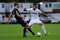 Monday 20th August 2018<br /> Pictured: Derby County's Ethan Wassall battles with Swansea City's Courtney Baker-Richardson<br /> Re: Swansea City U23 v Derby County U23 Premier League 2 match at the Landore Training facility, Swansea, Wales, UK